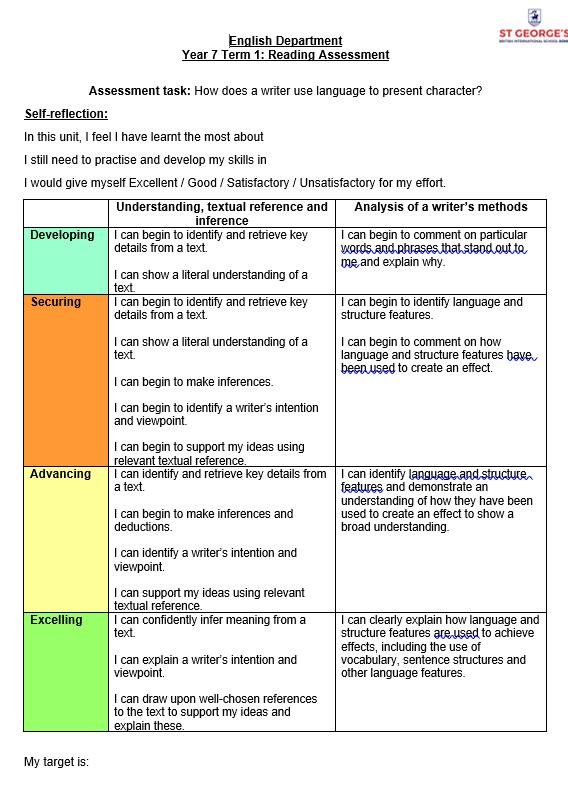 Reading assessment sheet